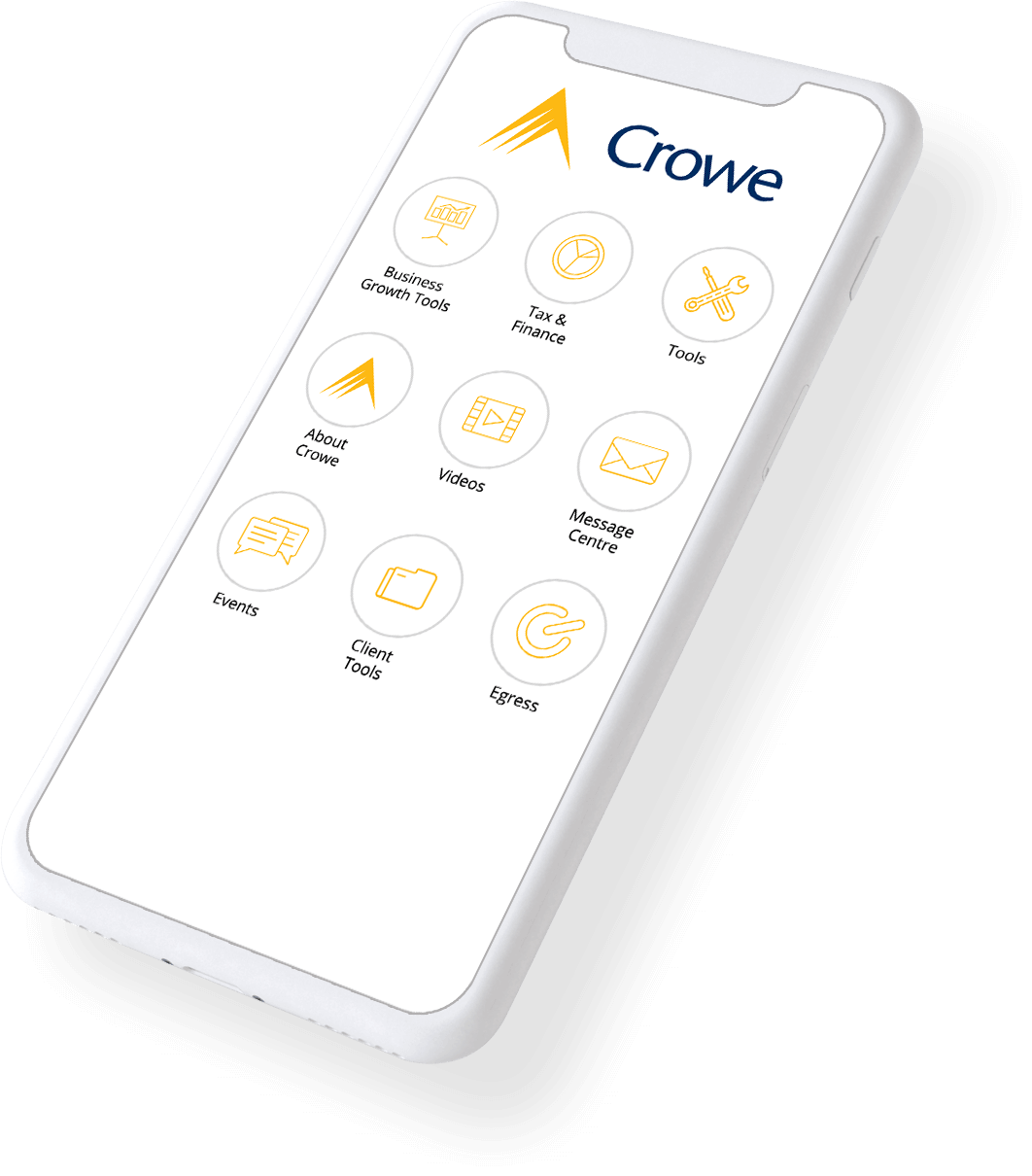A branded app home screen for Crowe, on a mobile phone.